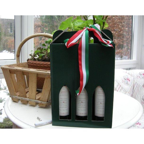 VINGAVEN: gavekarton med tre flasker
